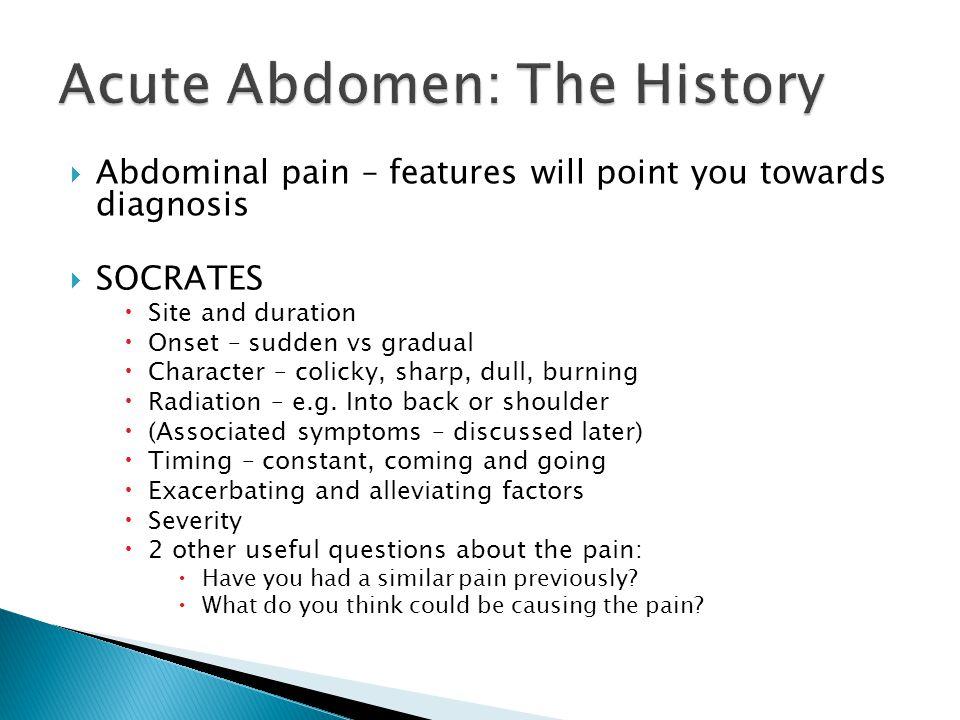Acute Abdomen: The History