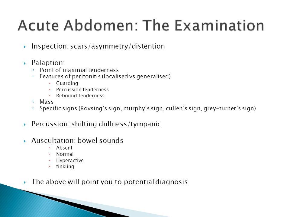 Acute Abdomen: The Examination