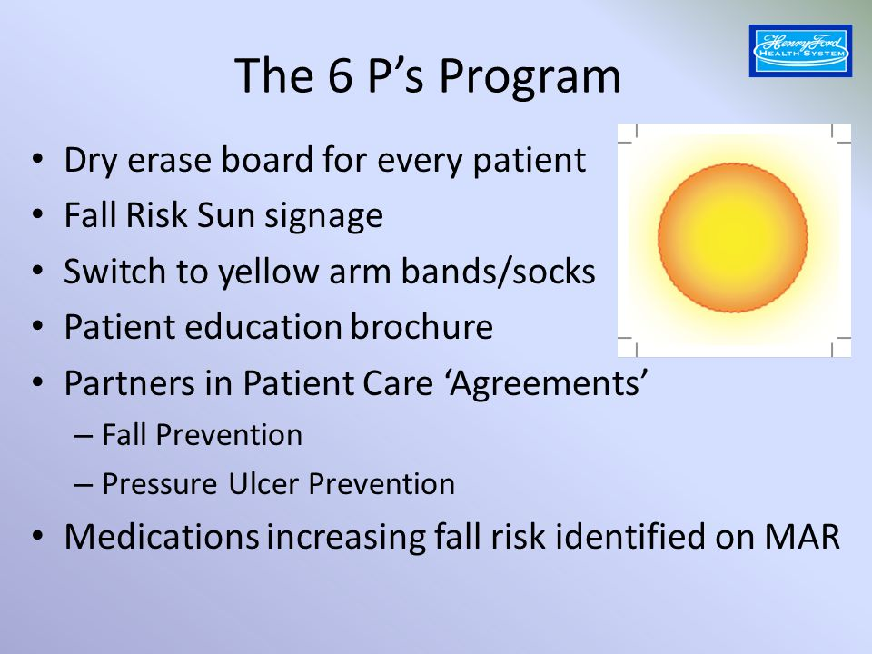 The 6 P's Program Dry erase board for every patient