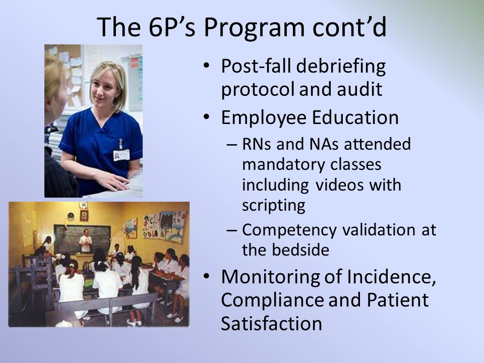 The 6P's Program cont'd Post-fall debriefing protocol and audit