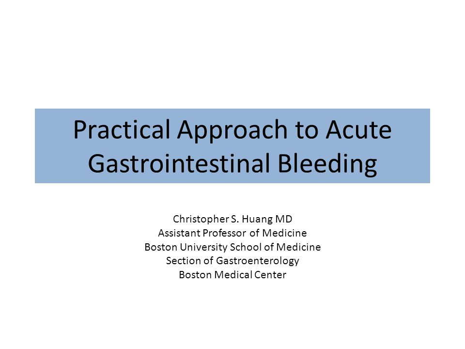 Practical Approach to Acute Gastrointestinal Bleeding