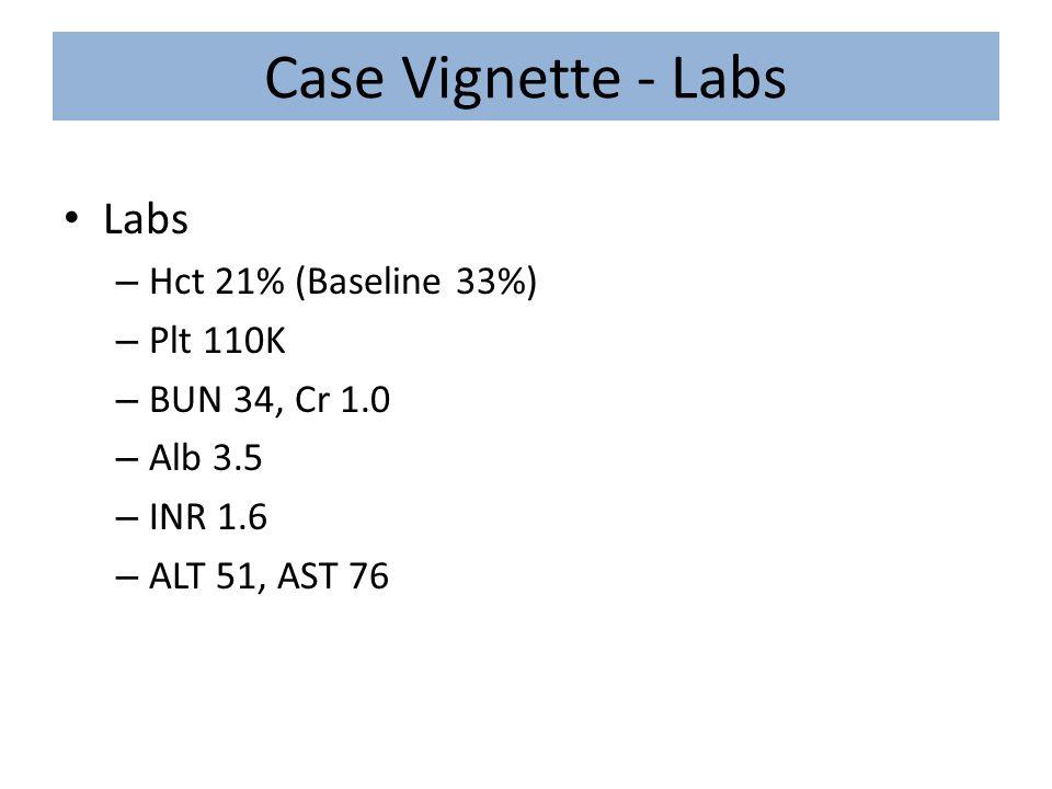 Case Vignette - Labs Labs Hct 21% (Baseline 33%) Plt 110K