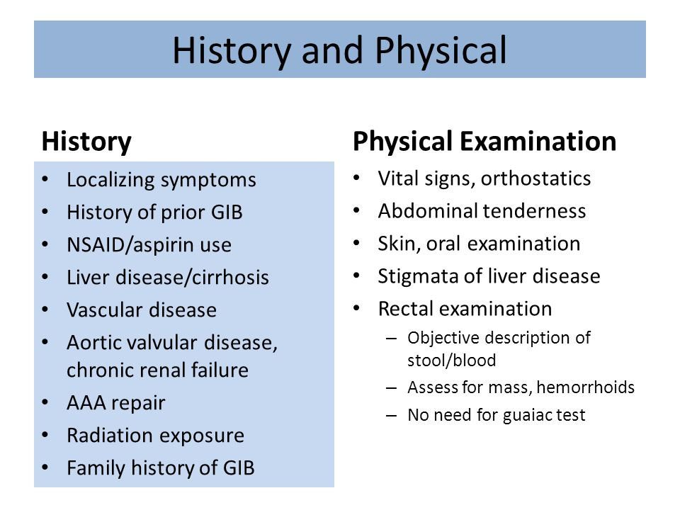 History and Physical History Physical Examination Localizing symptoms