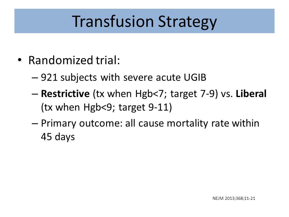 Transfusion Strategy Randomized trial: