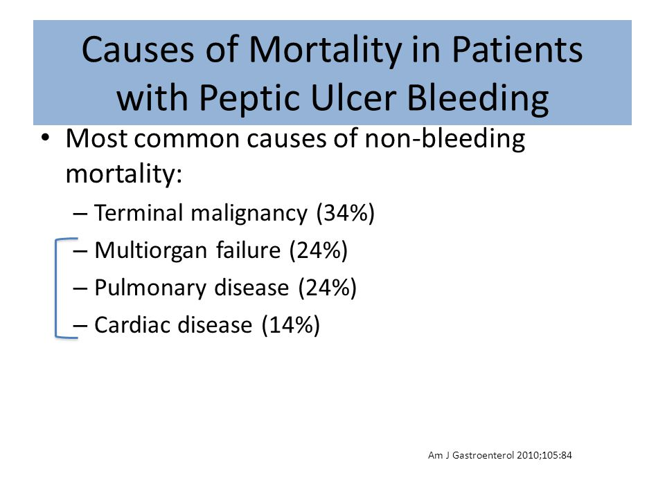 Causes of Mortality in Patients with Peptic Ulcer Bleeding