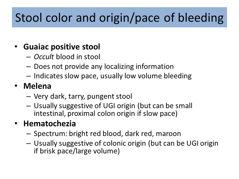 Stool color and origin/pace of bleeding