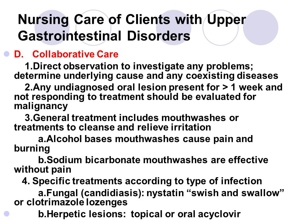 Nursing Care of Clients with Upper Gastrointestinal Disorders
