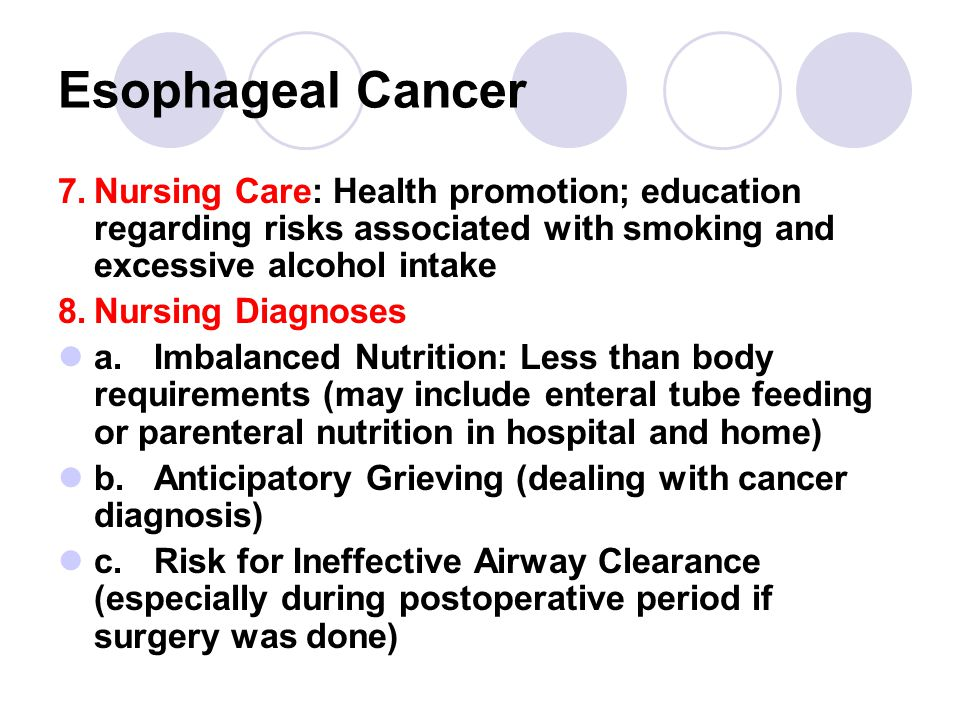 Esophageal Cancer 7. Nursing Care: Health promotion; education regarding risks associated with smoking and excessive alcohol intake.