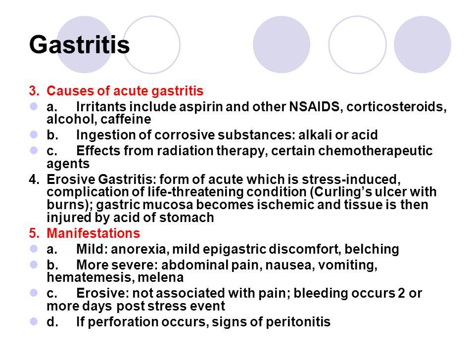 Gastritis 3. Causes of acute gastritis