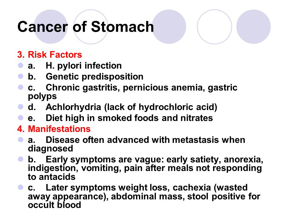Cancer of Stomach 3. Risk Factors a. H. pylori infection