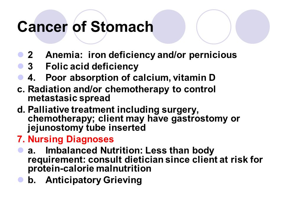 Cancer of Stomach 2 Anemia: iron deficiency and/or pernicious