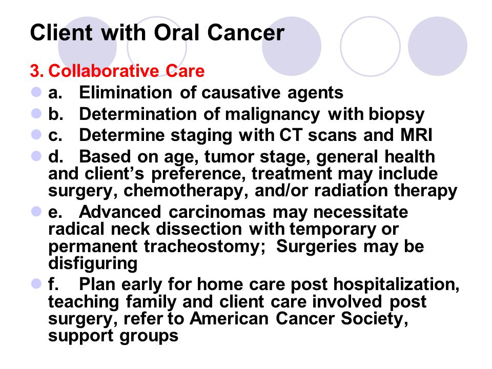 Client with Oral Cancer