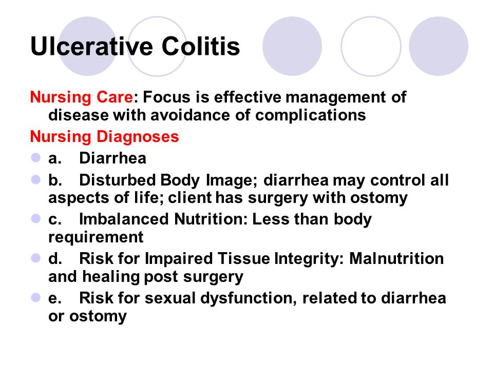 Ulcerative Colitis Nursing Care: Focus is effective management of disease with avoidance of complications.