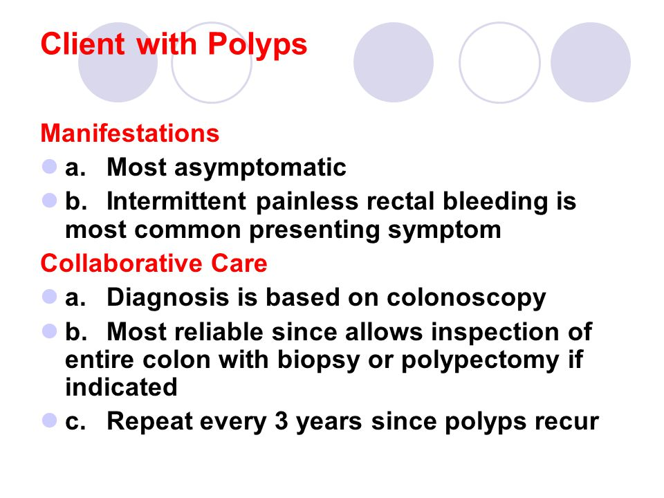 Client with Polyps Manifestations a. Most asymptomatic
