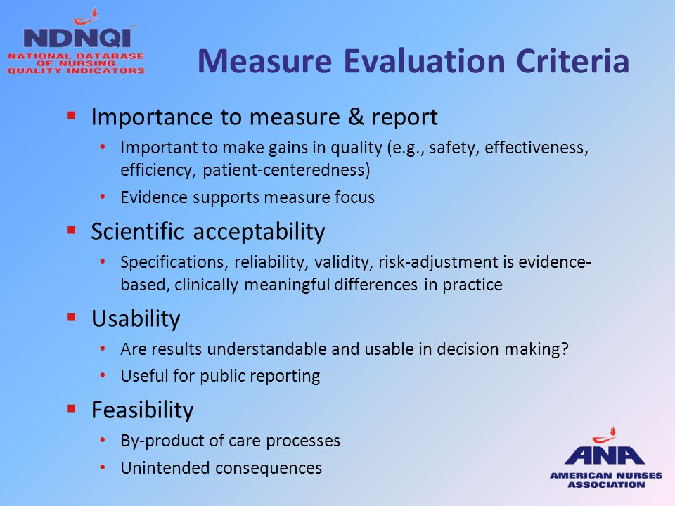 Measure Evaluation Criteria