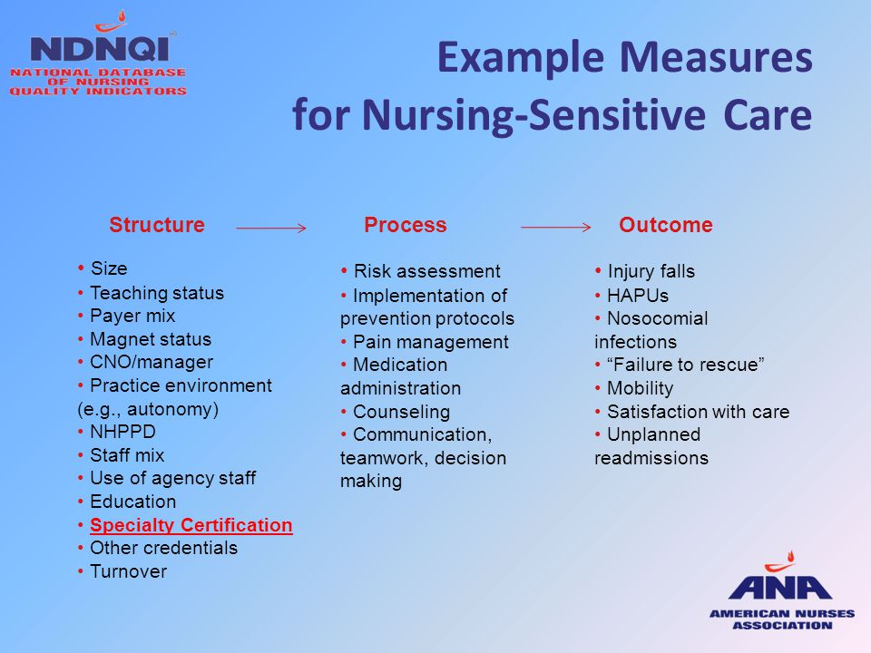 Example Measures for Nursing-Sensitive Care