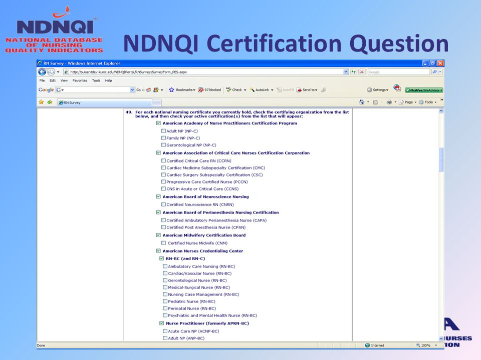 NDNQI Certification Question