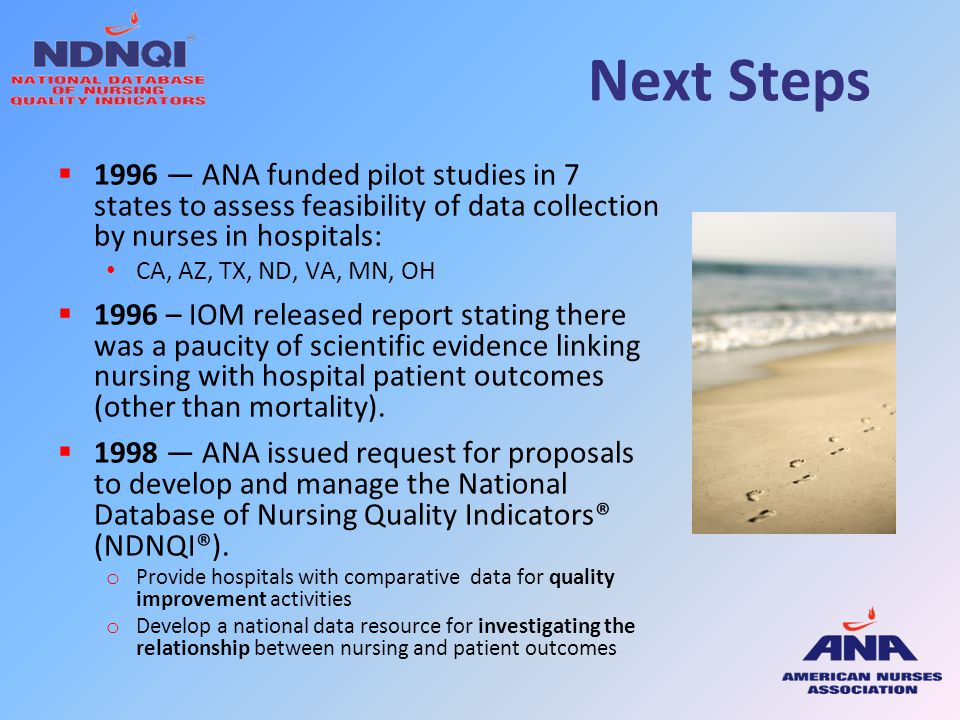 Next Steps 1996 — ANA funded pilot studies in 7 states to assess feasibility of data collection by nurses in hospitals:
