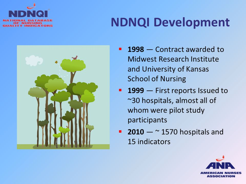 NDNQI Development 1998 — Contract awarded to Midwest Research Institute and University of Kansas School of Nursing.