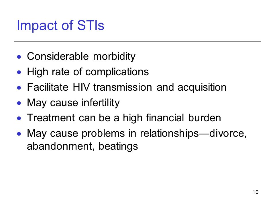 Impact of STIs Considerable morbidity High rate of complications