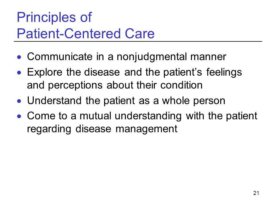 Principles of Patient-Centered Care