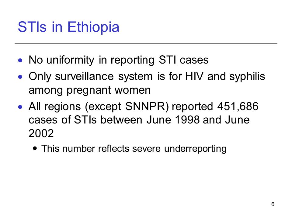STIs in Ethiopia No uniformity in reporting STI cases