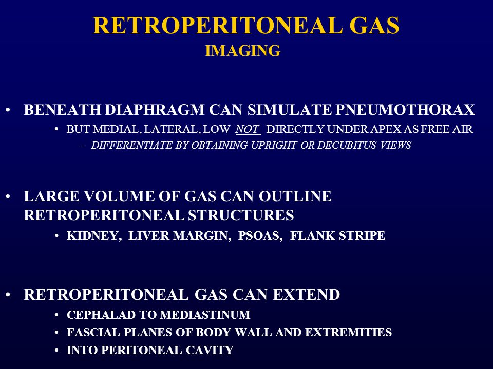 RETROPERITONEAL GAS IMAGING