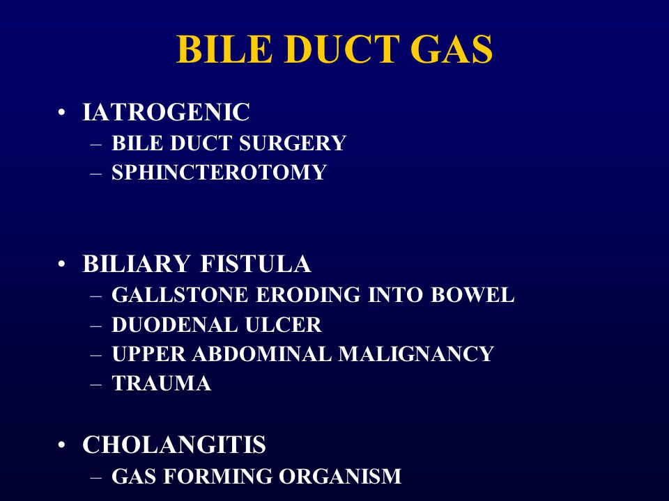 BILE DUCT GAS IATROGENIC BILIARY FISTULA CHOLANGITIS BILE DUCT SURGERY
