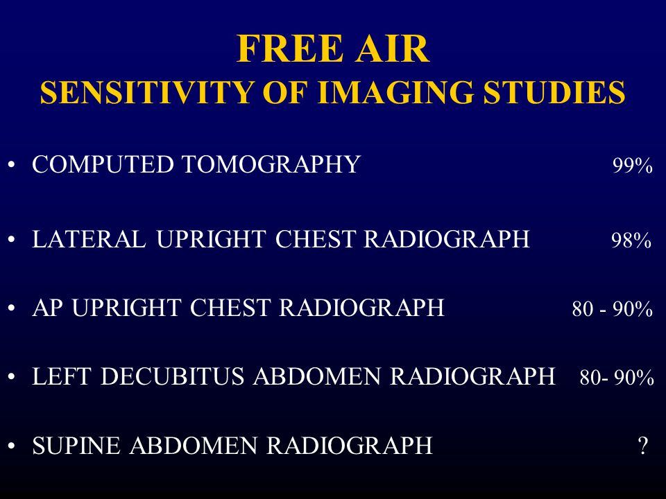 FREE AIR SENSITIVITY OF IMAGING STUDIES