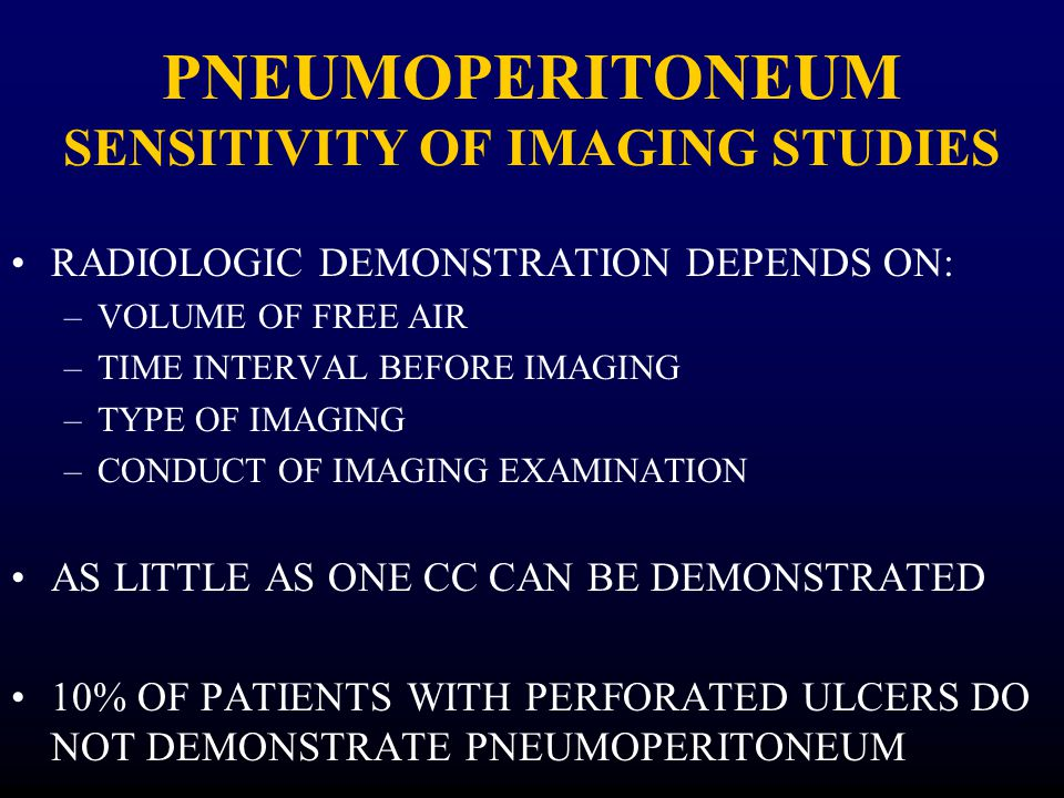 PNEUMOPERITONEUM SENSITIVITY OF IMAGING STUDIES