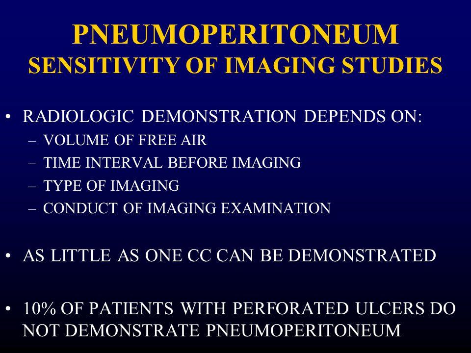 PNEUMOPERITONEUM SENSITIVITY OF IMAGING STUDIES