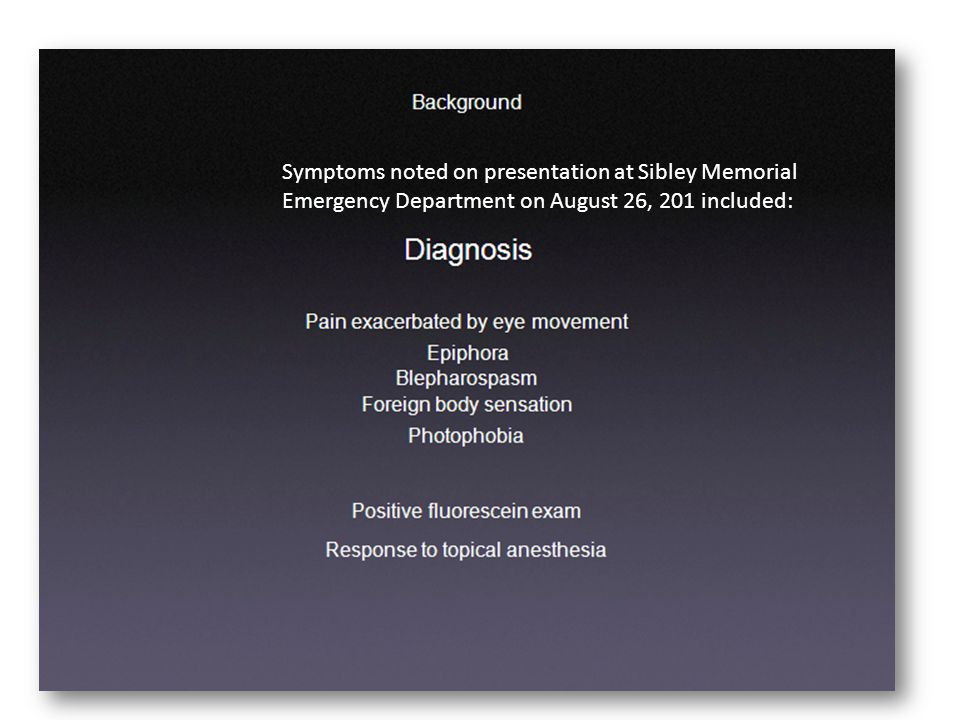 Symptoms noted on presentation at Sibley Memorial