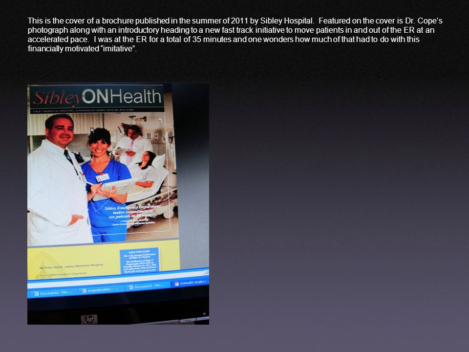 This is the cover of a brochure published in the summer of 2011 by Sibley Hospital.