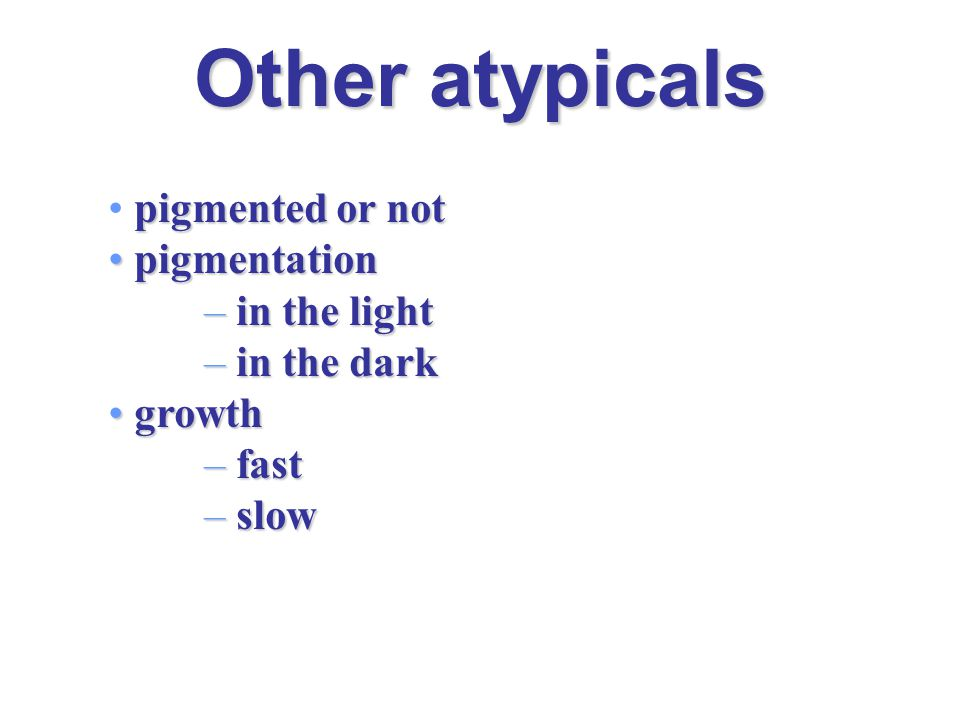 Other atypicals pigmented or not pigmentation in the light in the dark