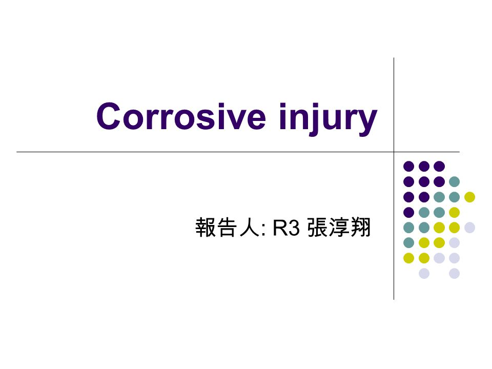 Corrosive injury 報告人: R3 張淳翔