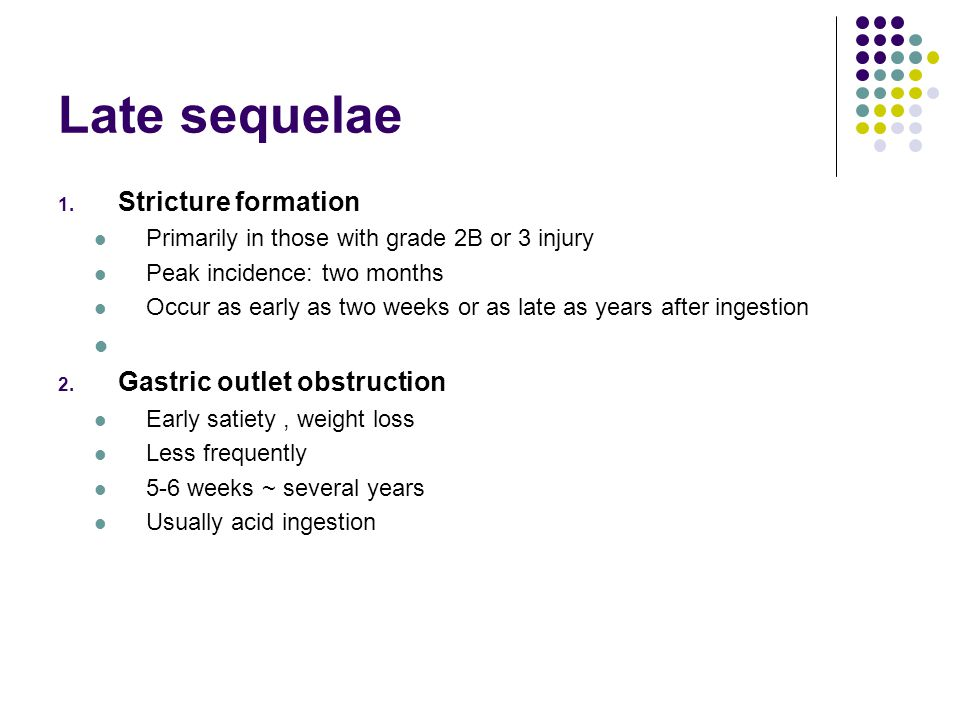 Late sequelae Stricture formation Gastric outlet obstruction