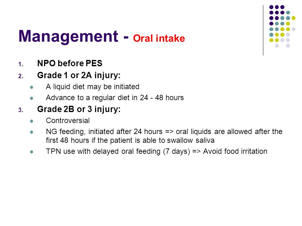 Management - Oral intake