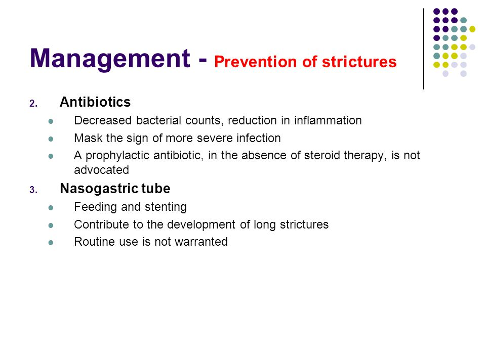 Management - Prevention of strictures