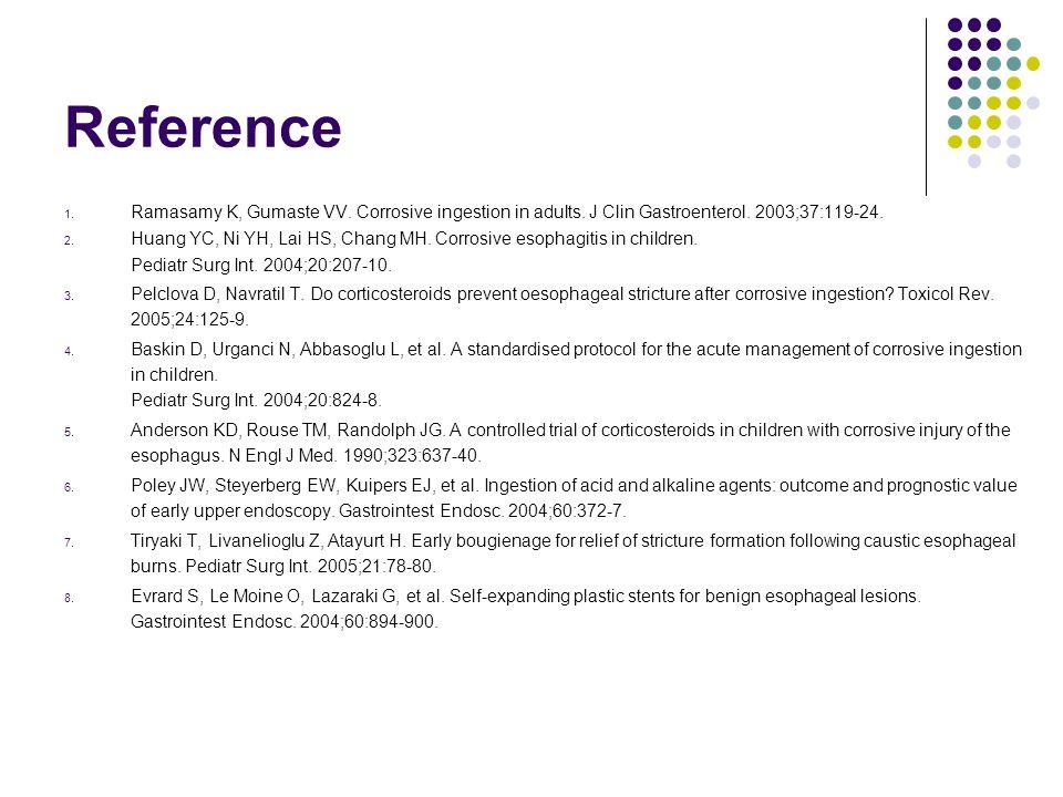 Reference Ramasamy K, Gumaste VV. Corrosive ingestion in adults. J Clin Gastroenterol. 2003;37:119-24.