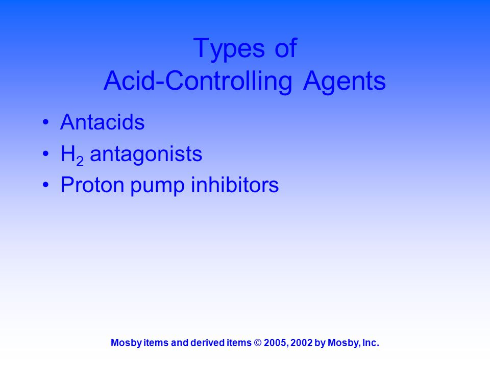Types of Acid-Controlling Agents