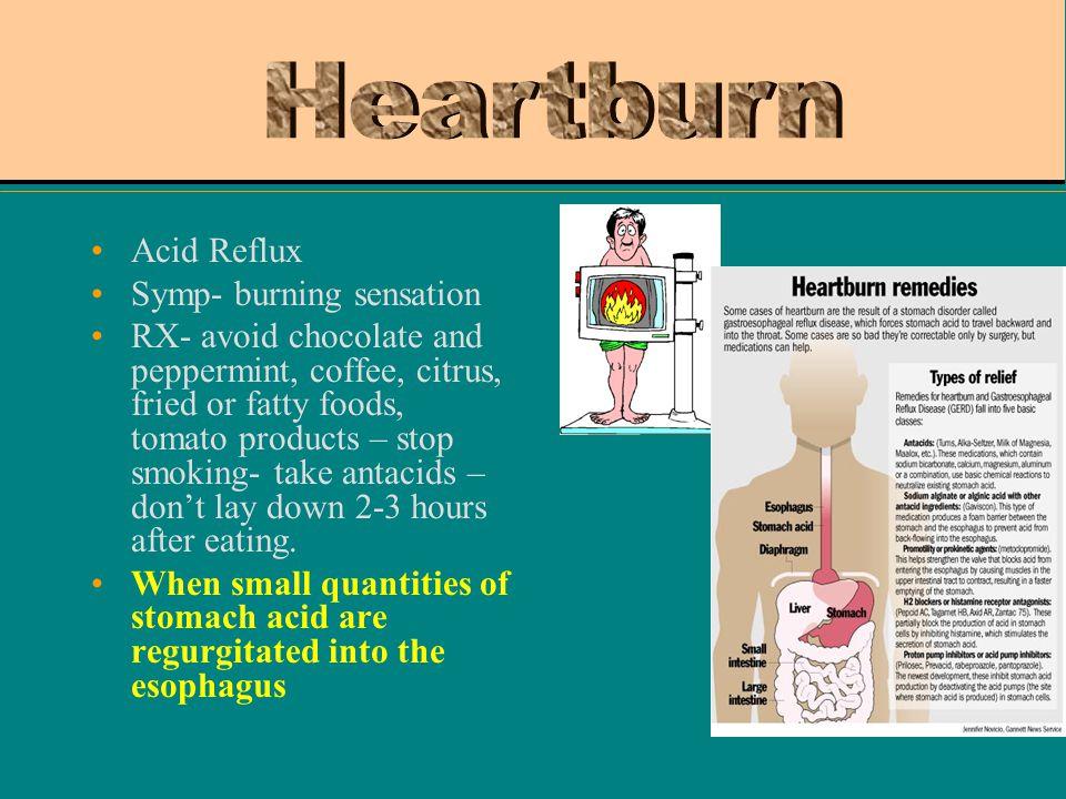 Heartburn Acid Reflux Symp- burning sensation