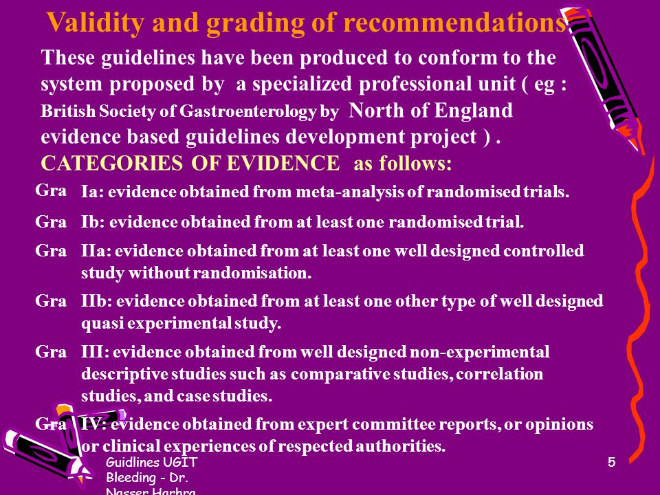Validity and grading of recommendations