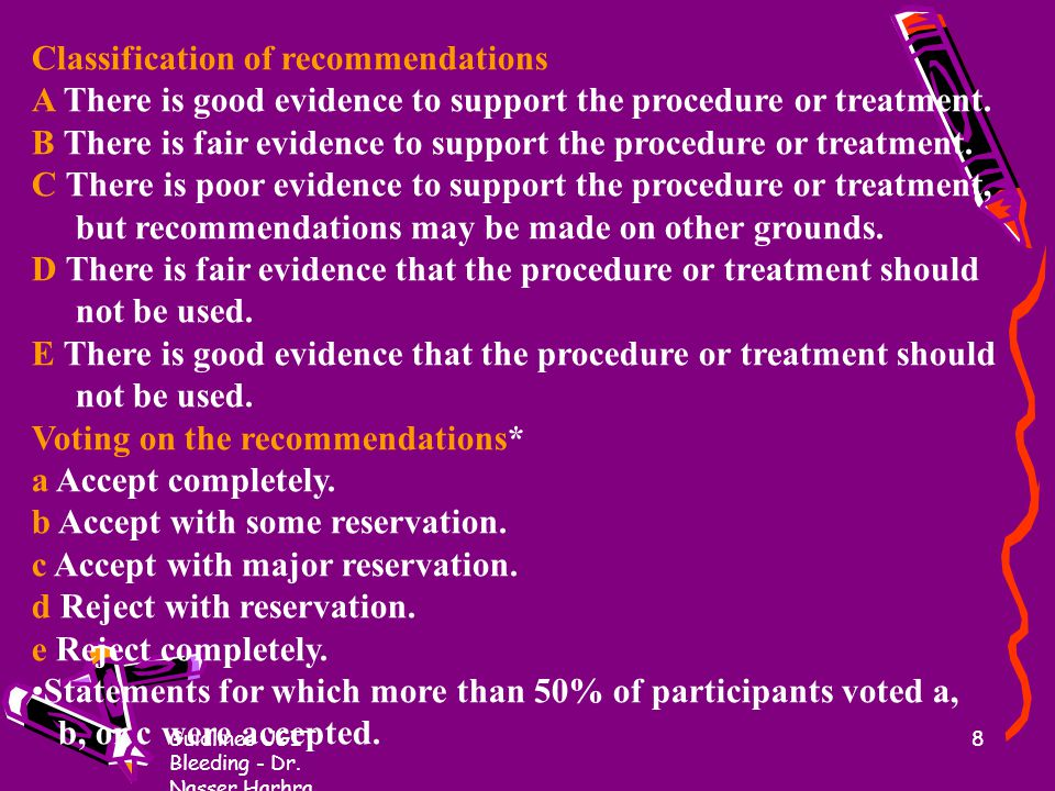 Classification of recommendations