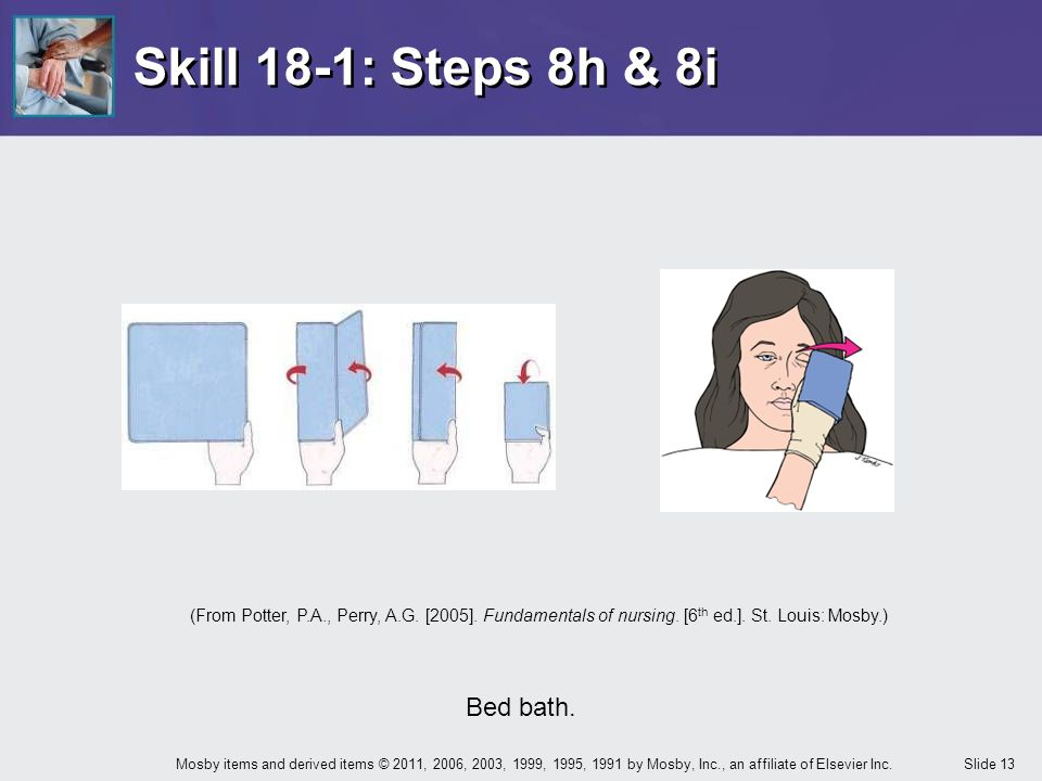 Skill 18-1: Steps 8h & 8i Bed bath.