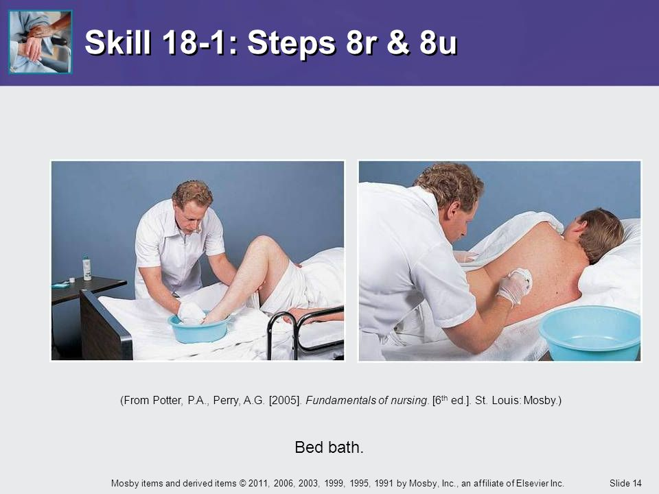 Skill 18-1: Steps 8r & 8u Bed bath.