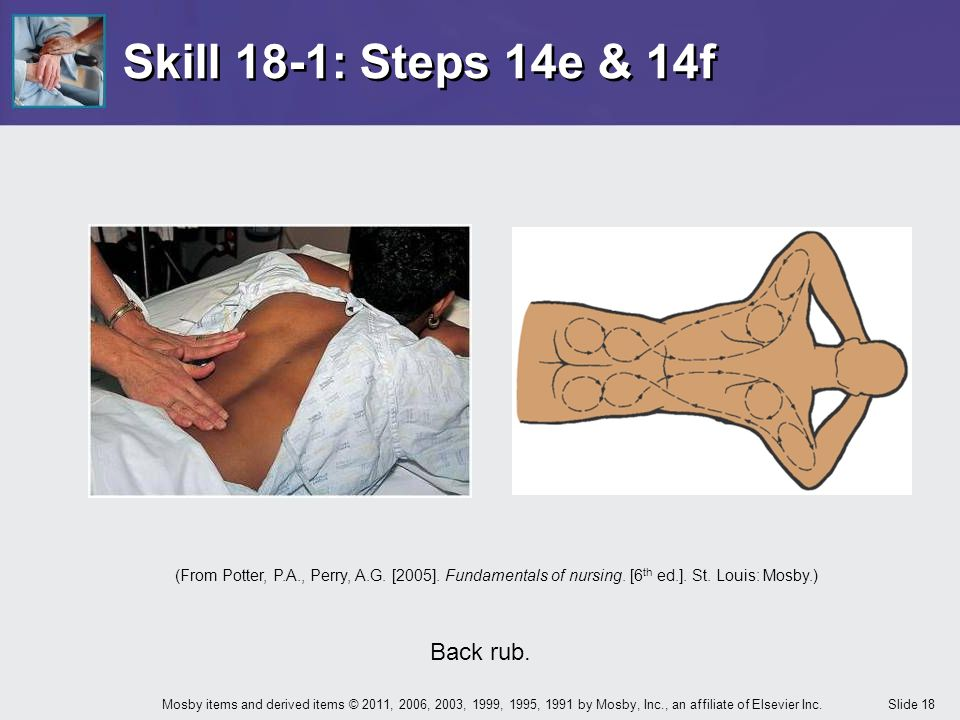 Skill 18-1: Steps 14e & 14f Back rub.