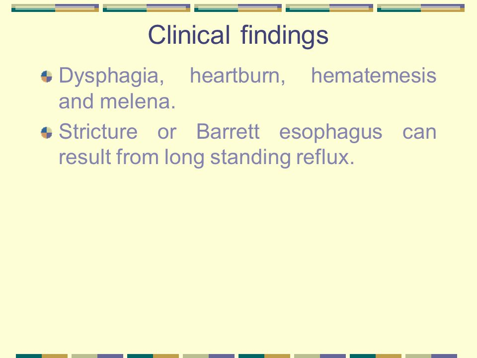 Clinical findings Dysphagia, heartburn, hematemesis and melena.