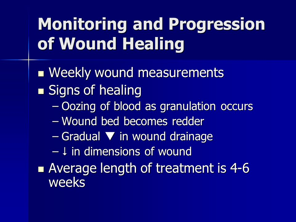 Monitoring and Progression of Wound Healing
