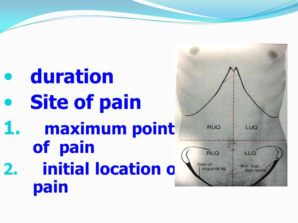 duration Site of pain maximum point of pain initial location of pain