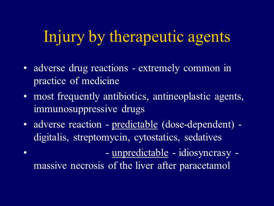 Injury by therapeutic agents
